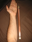 Fire Wand, comparison of size to arm