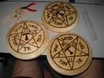 Circle of Art Placards, Woodburned